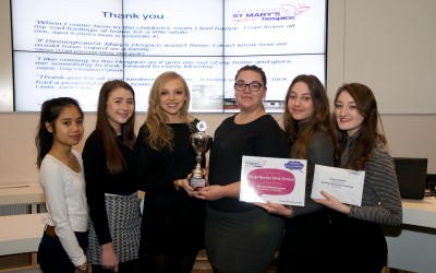 The team from Kings Norton Girls School, with their award: (left to right) Jaiah, Carys, Isobelle, Monica, Nicole and Lauren.